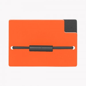 Zekkle Metal Front Pocket Wallet | Safari | Orange | Black
